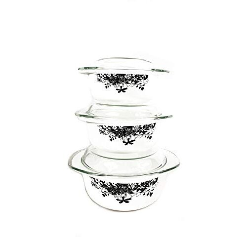 (Black) 3Pc Glass Set Casserole dish with lid