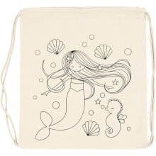 Drawstring Bag, size 37x41 cm, 110 g/m2, light natural, mermaid, 1pc