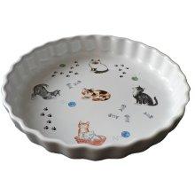 Cats Pattern 25cm Ceramic flan Quiche Dish