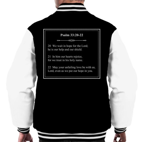 Religious Quotes Our Help And Shield Psalm 33 20 22 Men's Varsity Jacket