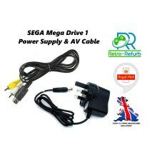 SEGA Mega Drive 1 Power Supply UK Plug + AV Lead Bundle MEGADRIVE