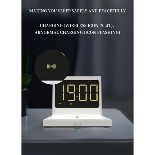 LED Digital Clock 10W Super Fast Wireless Charger Station for iPhone/Samsung ,Digital LED Clock for Bedroom -White