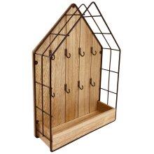 Wood & Wire House Key Storage with Shelf Unit