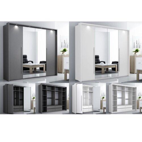 Modern sliding door wardrobe BREMA LED & mirror