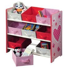 Kesper 17726 Kids' Storage Shelf 9 Textile Drawers Heart Motif