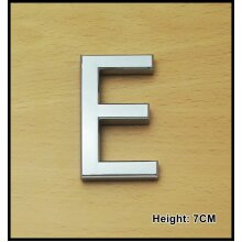 Self Adhesive 3D Chrome Letters Silver House Door Car 7cm CURVED - E