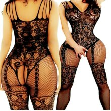 Beautiful Sexy Black Lace Mesh Crotchless Full Body Stocking Lingerie Underwear