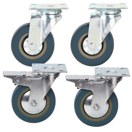 4 Heavy Duty 100mm Trollry Rubber Swivel Wheel Caster Brake 600KG