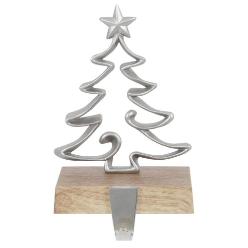 Mr Crimbo Christmas Stocking Hanger Wooden Base Metal Fireplace Hook Xmas Tree