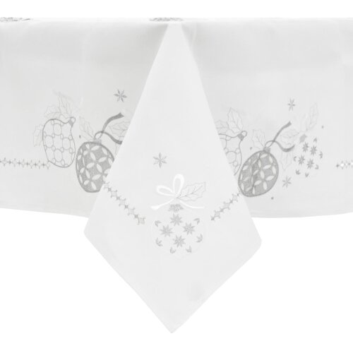 """Christmas Tablecloth Fabric Luxury Embroidered Baubles Rectangle - White 52x90"""""""