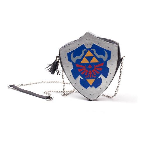 NINTENDO Legend of Zelda Hylian Shield Shaped Shoulder Bag with Chain Shoulder Strap, Female, Multi-colour (LB871151ZEL)