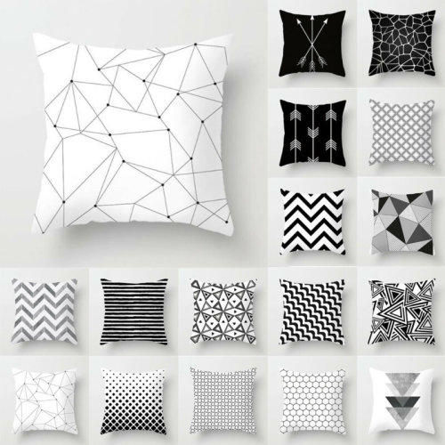 Black And White Geometric Cushion Cover Pillow Case Home Sofa Waist Throw Square