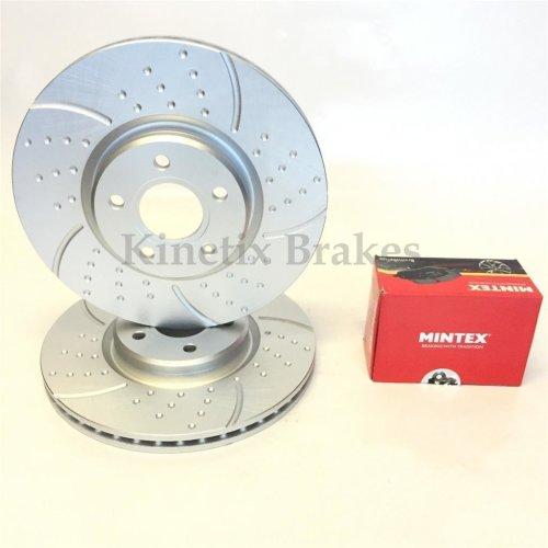 FOR FORD FOCUS ST 2.0 TDCi FRONT DIMPLED & GROOVED BRAKE DISCS MINTEX PADS SET