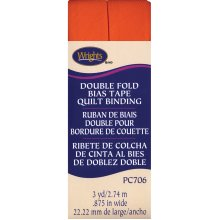 "Wrights Double Fold Quilt Binding .875""X3yd-Orange"