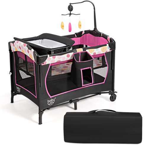 3 in 1 Portable Baby Travel Cot Crib Playard Infant Bassinet Bed
