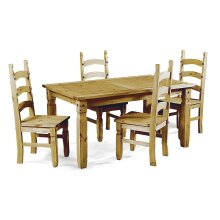 Corona Dining Table and 4 Chairs Small Extending Set Pine Furniture