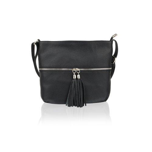 """Woodland Leather Black Hand Bag Top Zip 9.0"""" Zip Front"""