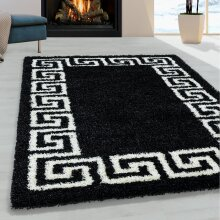 Black and White Shaggy Rug Soft Thick Fluffy Carpet Large Small Bedroom Living Room Mat