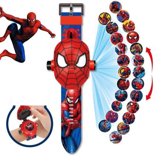Disney Cartoon Children Watch 3D Projection Superman Spiderman Ironman Princess Digital Toy Gifts