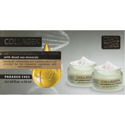 Dead Sea Collection Collagen Kit, Anti Wrinkle Day & Night Cream, 50 ml each