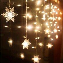 Christmas LED Snowflake Lights Hanging Icicle Curtain Xmas Lamp Decor