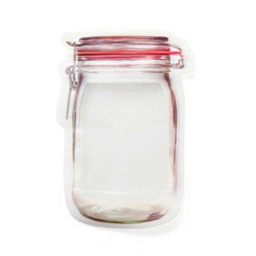 (L(10PCS)) Mason Jar Bottles Bags Silicone Food Storage Zipper Lock Reusable Bag Clear