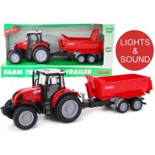 Toyland® 37cm Red Tractor & Trailer With Lights & Sound - Kids Farm Toys (Tractor & Red Trailer)