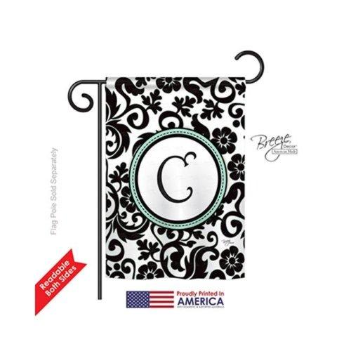 Breeze Decor 80055 Damask C Monogram 2-Sided Impression Garden Flag - 13 x 18.5 in.