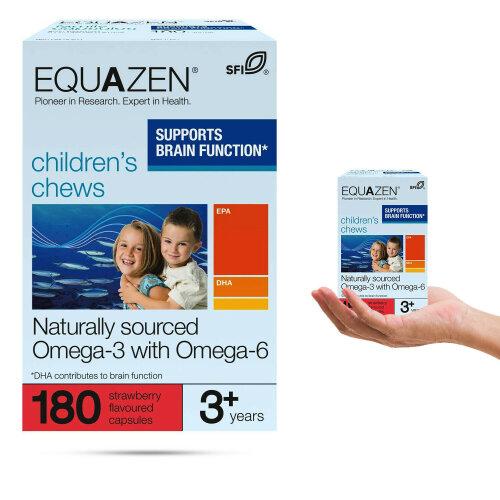 Equazen Children's Chews Omega 3+Omega 6, 180 Strawberry Flavoured Supplement