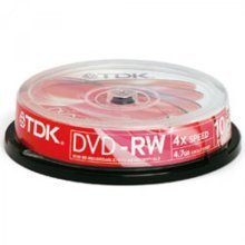 TDK DVD-RW Recordable Media 4.7GB 2-4x Speed - (10 Spindle Pack)