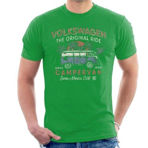 (Large, Kelly Green) Official Volkswagen The Original Ride Campervan Men's T-Shirt