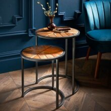 Stunning Pavilion Solid Wood Nest of 2 Tables With solid mango wood and metal legs.