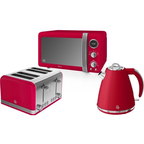 (Red) Swan Retro 800W Digital Microwave, 1.5L Jug Kettle & 4 Slice Toaster