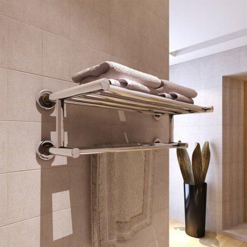 vidaXL Towel Rack 6 Tubes Stainless Steel Bathroom Robe Hanger Tail Holder