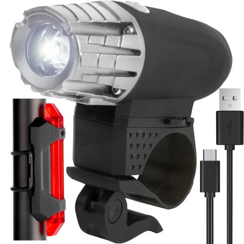 Waterproof LED Bike Lights Front and Back,USB Rechargeable Super Bright Black