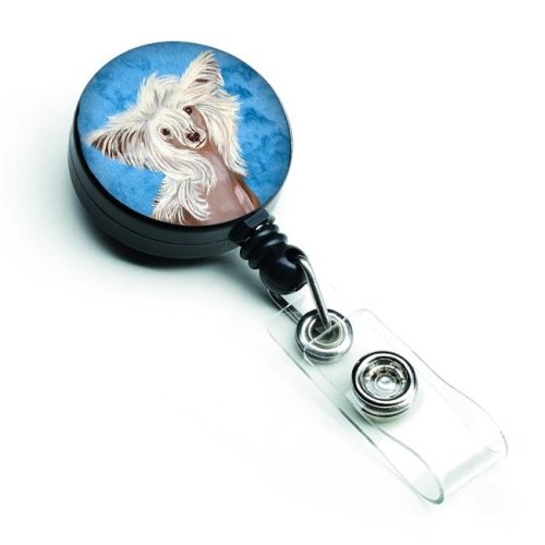 Blue Chinese Crested Retractable Badge Reel