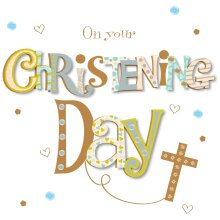 On Your Christening Day Embellished Greeting Card Talking Pictures Cards