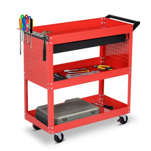 DURHAND 3-tier Tool Trolley Cart Roller Cabinet Casters Red Workshop