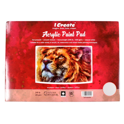 I CREATE Acrylic Paint Pad   A3, 15 Sheets, 400 gsm, Textured - for Acrylic, Oil and Watercolour