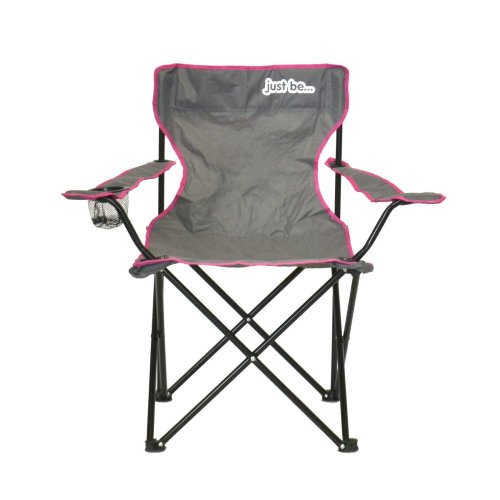 just be...® Folding Camping Chair - Grey with Pink Trim
