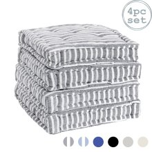 Cushion Seat Pad Square Padded Dining Chair Thick Pillow Cover  - Grey Stripe x4