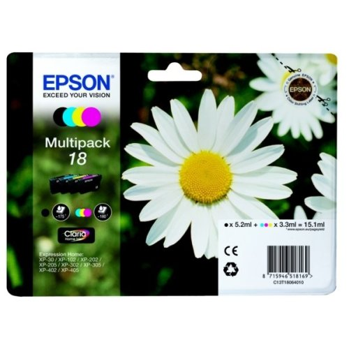 Epson C13T18064012 (18) Ink cartridge multi pack, 175pg + 3x180pg, 1x 5ml + 3x 3ml, Pack qty 4
