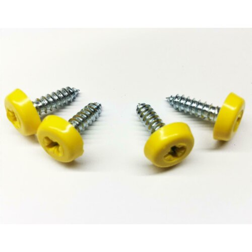 4 Yellow Replacement Number Plate Fitting Kit Oversized Screws With Caps Covers