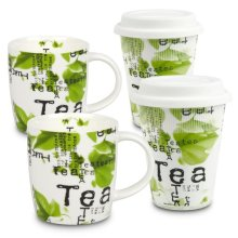 Konitz 44 5 162 2752 Tea Collage to Stay & To Go Mugs with Lids, 4 Piece