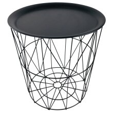 Geometric Black Wire Circular Tray Table