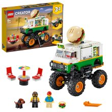 LEGO 31104 Creator 3in1 Monster Burger Truck Toy - Off Roader - Tractor Hauler Building Set, Vehicle Collection