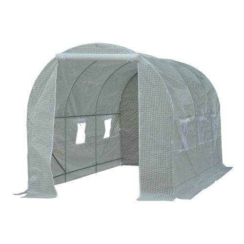 Outsunny 4.5 x 2 x 2 cm Large Galvanized Steel Frame Outdoor Walk-In Poly Tunnel