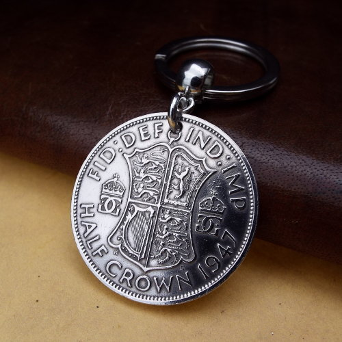 1947 Half Crown Coin Keyring Birthday Gift