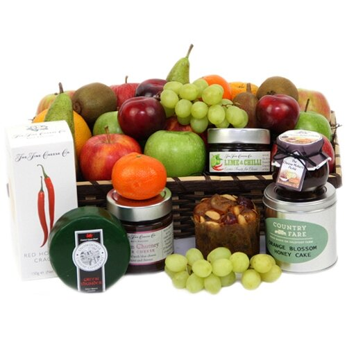 Fruitalicious Cheese Hamper - Fruit Gift Baskets and Christmas Gift Hampers and Personalised Message Card Attached
