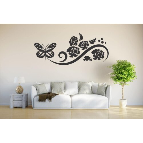 INDIGOS 4051095480587Vinyl Wall Sticker Home Graphic Decal Gift Decor Kids Room Novelty Wall Sticker D147Butterfly Plant Tribal 120x 2